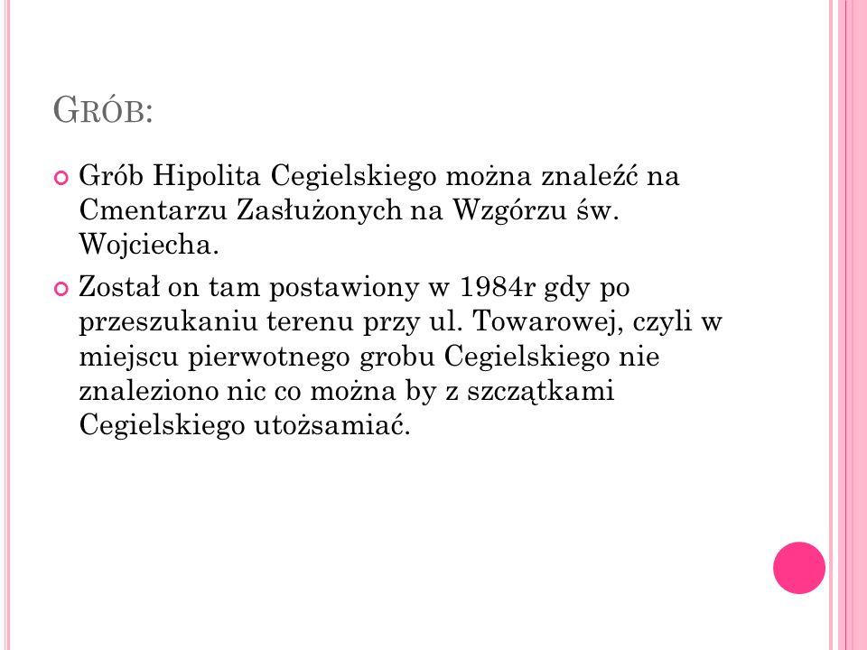 G RÓB : Grób Hipolita Cegielskiego można znaleźć na Cmentarzu Zasłużonych na Wzgórzu św.