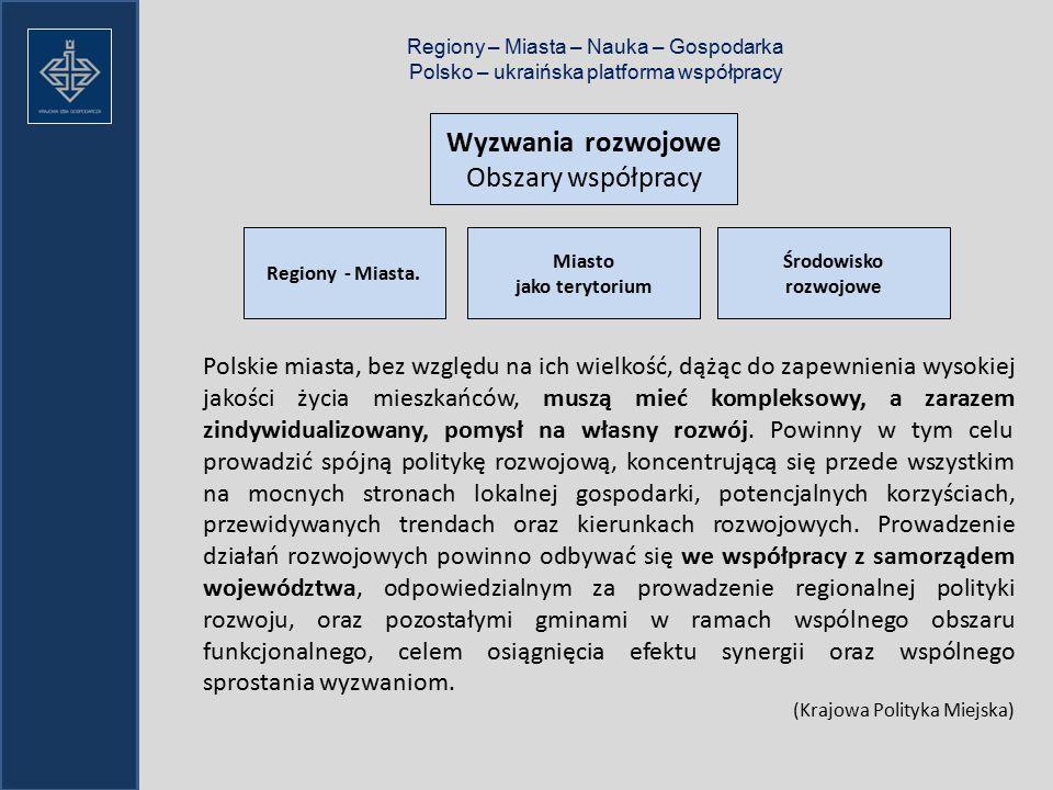 Regiony – Miasta – Nauka – Gospodarka Polsko – ukraińska platforma współpracy Wyzwania rozwojowe Obszary współpracy Regiony - Miasta.