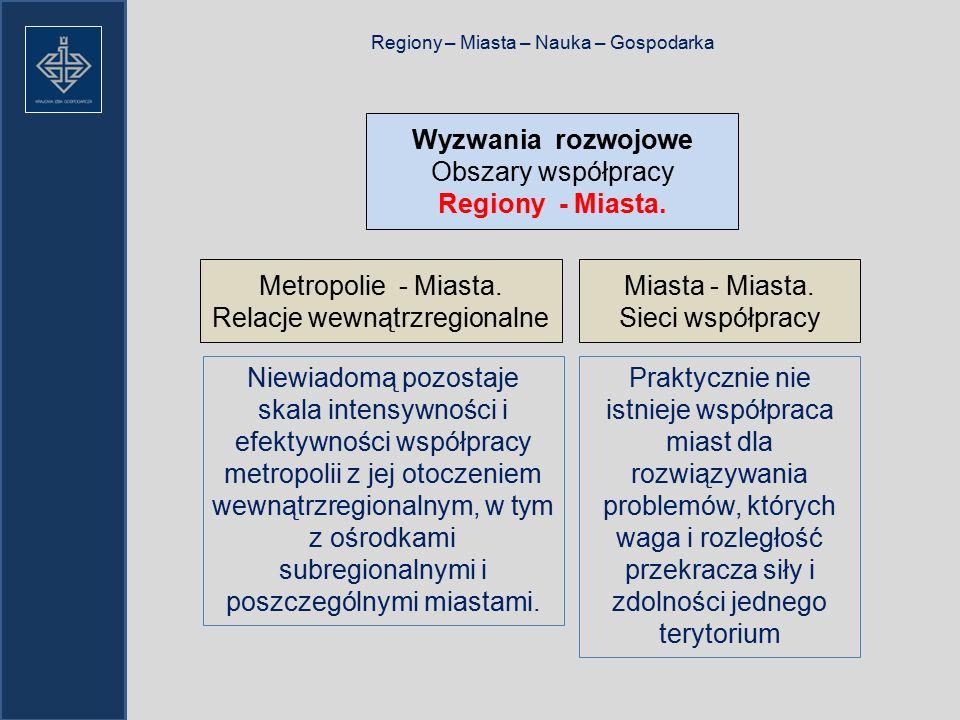 Regiony – Miasta – Nauka – Gospodarka Wyzwania rozwojowe Obszary współpracy Regiony - Miasta.