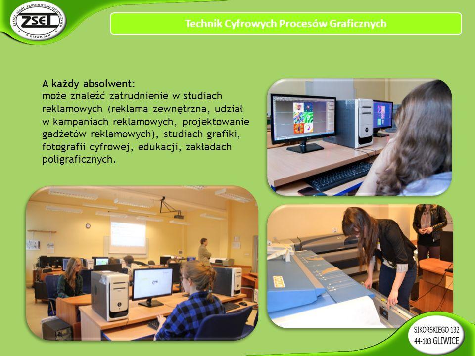 Technik Cyfrowych Procesów Graficznych A każdy absolwent: może znaleźć zatrudnienie w studiach reklamowych (reklama zewnętrzna, udział w kampaniach reklamowych, projektowanie gadżetów reklamowych), studiach grafiki, fotografii cyfrowej, edukacji, zakładach poligraficznych.