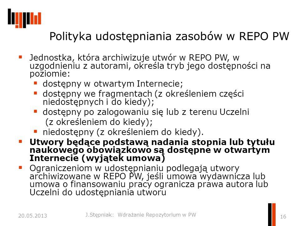Polityka udostępniania zasobów w REPO PW  Jednostka, która archiwizuje utwór w REPO PW, w uzgodnieniu z autorami, określa tryb jego dostępności na poziomie:  dostępny w otwartym Internecie;  dostępny we fragmentach (z określeniem części niedostępnych i do kiedy);  dostępny po zalogowaniu się lub z terenu Uczelni (z określeniem do kiedy);  niedostępny (z określeniem do kiedy).