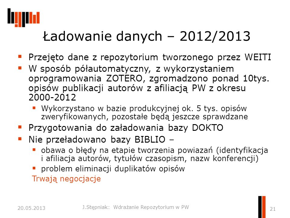 Ładowanie danych – 2012/2013  Przejęto dane z repozytorium tworzonego przez WEITI  W sposób półautomatyczny, z wykorzystaniem oprogramowania ZOTERO, zgromadzono ponad 10tys.