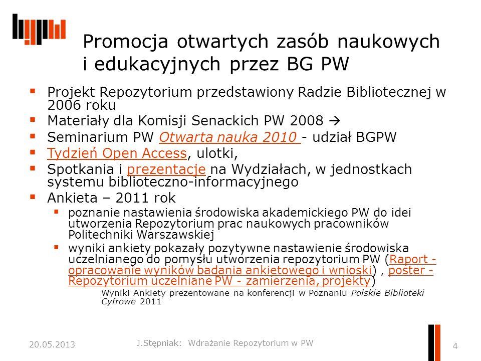Promocja otwartych zasób naukowych i edukacyjnych przez BG PW  Projekt Repozytorium przedstawiony Radzie Bibliotecznej w 2006 roku  Materiały dla Komisji Senackich PW 2008   Seminarium PW Otwarta nauka 2010 - udział BGPWOtwarta nauka 2010  Tydzień Open Access, ulotki, Tydzień Open Access  Spotkania i prezentacje na Wydziałach, w jednostkach systemu biblioteczno-informacyjnegoprezentacje  Ankieta – 2011 rok  poznanie nastawienia środowiska akademickiego PW do idei utworzenia Repozytorium prac naukowych pracowników Politechniki Warszawskiej  wyniki ankiety pokazały pozytywne nastawienie środowiska uczelnianego do pomysłu utworzenia repozytorium PW (Raport - opracowanie wyników badania ankietowego i wnioski), poster - Repozytorium uczelniane PW - zamierzenia, projekty)Raport - opracowanie wyników badania ankietowego i wnioskiposter - Repozytorium uczelniane PW - zamierzenia, projekty Wyniki Ankiety prezentowane na konferencji w Poznaniu Polskie Biblioteki Cyfrowe 2011 J.Stępniak: Wdrażanie Repozytorium w PW 4 20.05.2013