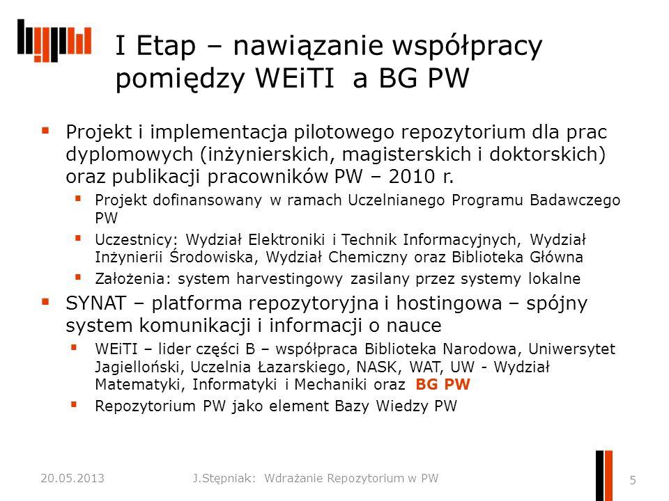 I Etap – nawiązanie współpracy pomiędzy WEiTI a BG PW  Projekt i implementacja pilotowego repozytorium dla prac dyplomowych (inżynierskich, magisterskich i doktorskich) oraz publikacji pracowników PW – 2010 r.
