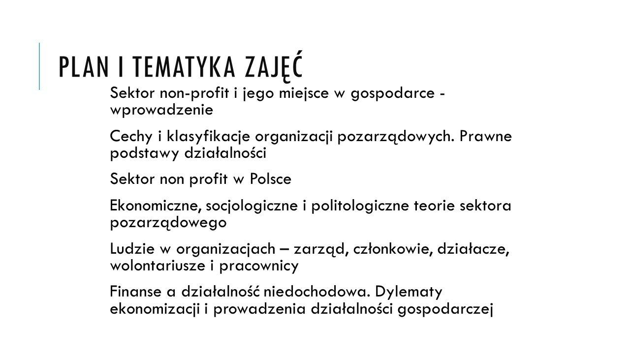 PLAN I TEMATYKA ZAJĘĆ Sektor non-profit i jego miejsce w gospodarce - wprowadzenie Cechy i klasyfikacje organizacji pozarządowych.