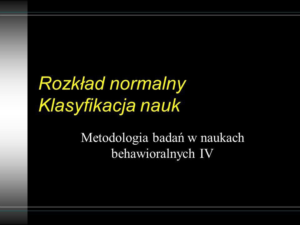 Rozkład normalny Klasyfikacja nauk Metodologia badań w naukach behawioralnych IV