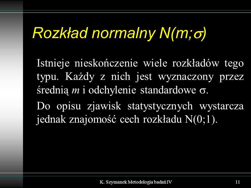 Rozkład normalny N(m;  ) Istnieje nieskończenie wiele rozkładów tego typu. Każdy z nich jest wyznaczony przez średnią m i odchylenie standardowe . D