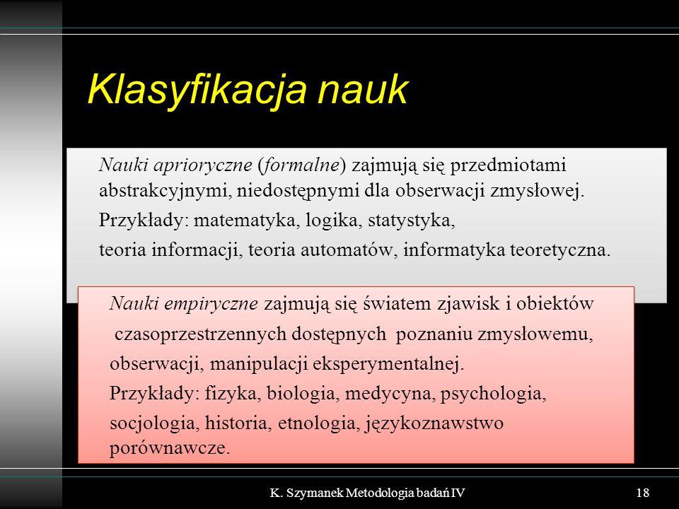 Klasyfikacja nauk Nauki aprioryczne (formalne) zajmują się przedmiotami abstrakcyjnymi, niedostępnymi dla obserwacji zmysłowej.