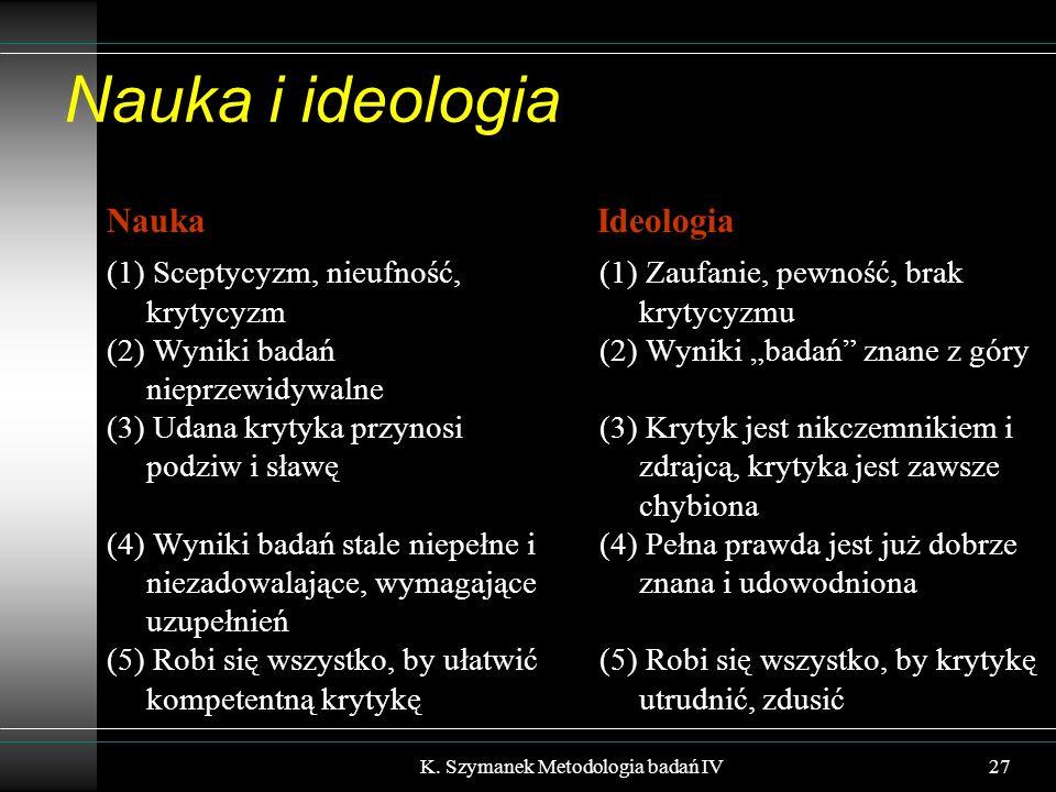 """Nauka i ideologia Nauka (1) Sceptycyzm, nieufność, krytycyzm (2) Wyniki badań nieprzewidywalne (3) Udana krytyka przynosi podziw i sławę (4) Wyniki badań stale niepełne i niezadowalające, wymagające uzupełnień (5) Robi się wszystko, by ułatwić kompetentną krytykę Ideologia (1) Zaufanie, pewność, brak krytycyzmu (2) Wyniki """"badań znane z góry (3) Krytyk jest nikczemnikiem i zdrajcą, krytyka jest zawsze chybiona (4) Pełna prawda jest już dobrze znana i udowodniona (5) Robi się wszystko, by krytykę utrudnić, zdusić K."""