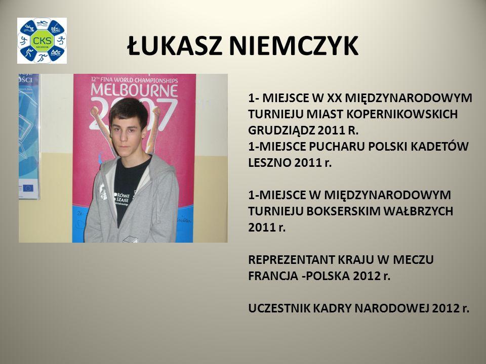 ŁUKASZ NIEMCZYK 1- MIEJSCE W XX MIĘDZYNARODOWYM TURNIEJU MIAST KOPERNIKOWSKICH GRUDZIĄDZ 2011 R.