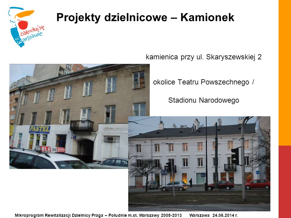 Projekty dzielnicowe – Kamionek kamienica przy ul. Skaryszewskiej 2 okolice Teatru Powszechnego / Stadionu Narodowego Mikroprogram Rewitalizacji Dziel