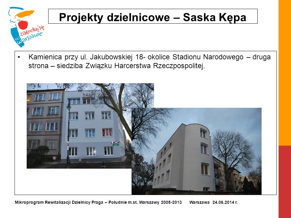 Projekty dzielnicowe – Saska Kępa Kamienica przy ul. Jakubowskiej 18- okolice Stadionu Narodowego – druga strona – siedziba Związku Harcerstwa Rzeczpo