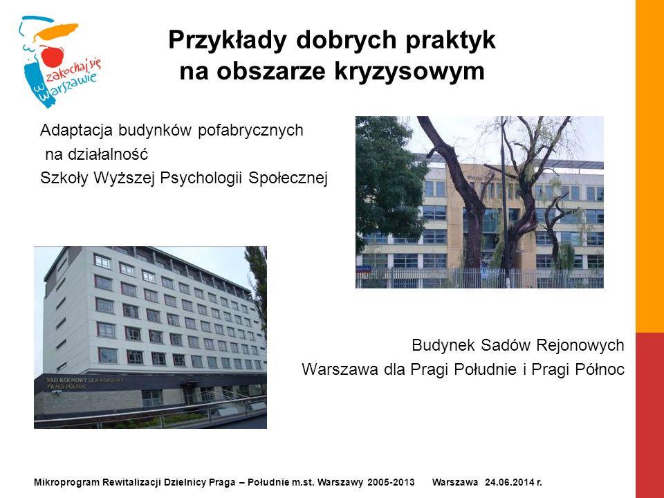 Przykłady dobrych praktyk na obszarze kryzysowym Adaptacja budynków pofabrycznych na działalność Szkoły Wyższej Psychologii Społecznej Budynek Sadów R