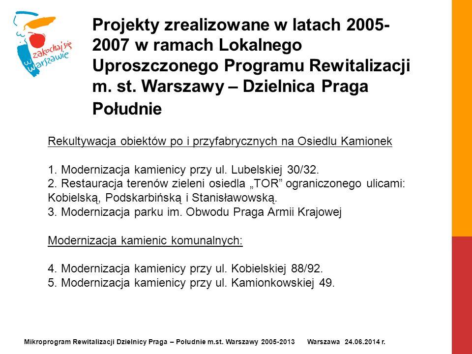 Projekty zrealizowane w latach 2005- 2007 w ramach Lokalnego Uproszczonego Programu Rewitalizacji m. st. Warszawy – Dzielnica Praga Południe Mikroprog