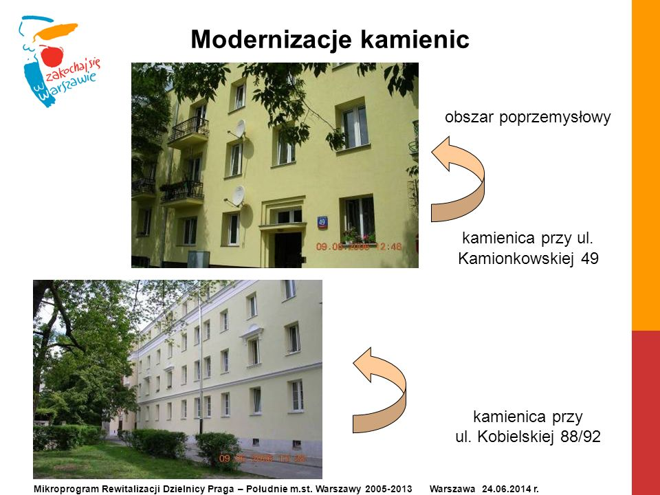 Modernizacje kamienic obszar poprzemysłowy kamienica przy ul. Kamionkowskiej 49 kamienica przy ul. Kobielskiej 88/92 Mikroprogram Rewitalizacji Dzieln