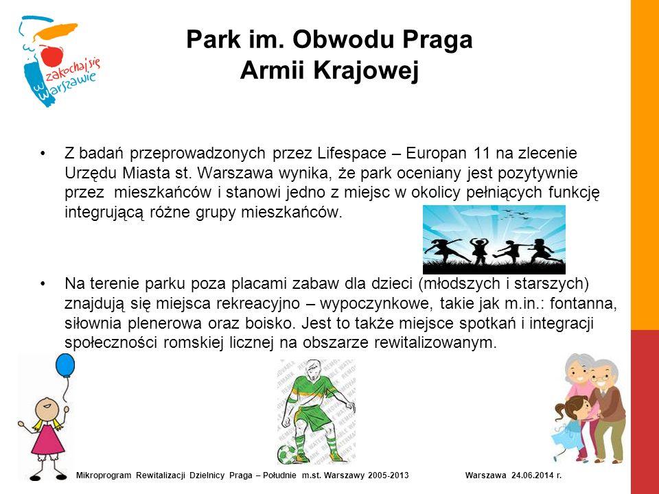 Park im. Obwodu Praga Armii Krajowej Z badań przeprowadzonych przez Lifespace – Europan 11 na zlecenie Urzędu Miasta st. Warszawa wynika, że park ocen