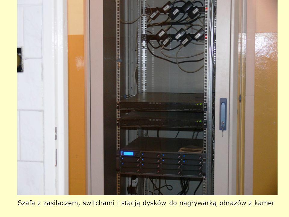 Szafa z zasilaczem, switchami i stacją dysków do nagrywarką obrazów z kamer