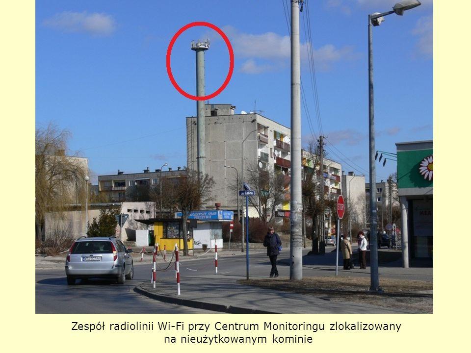 Zespół radiolinii Wi-Fi przy Centrum Monitoringu zlokalizowany na nieużytkowanym kominie