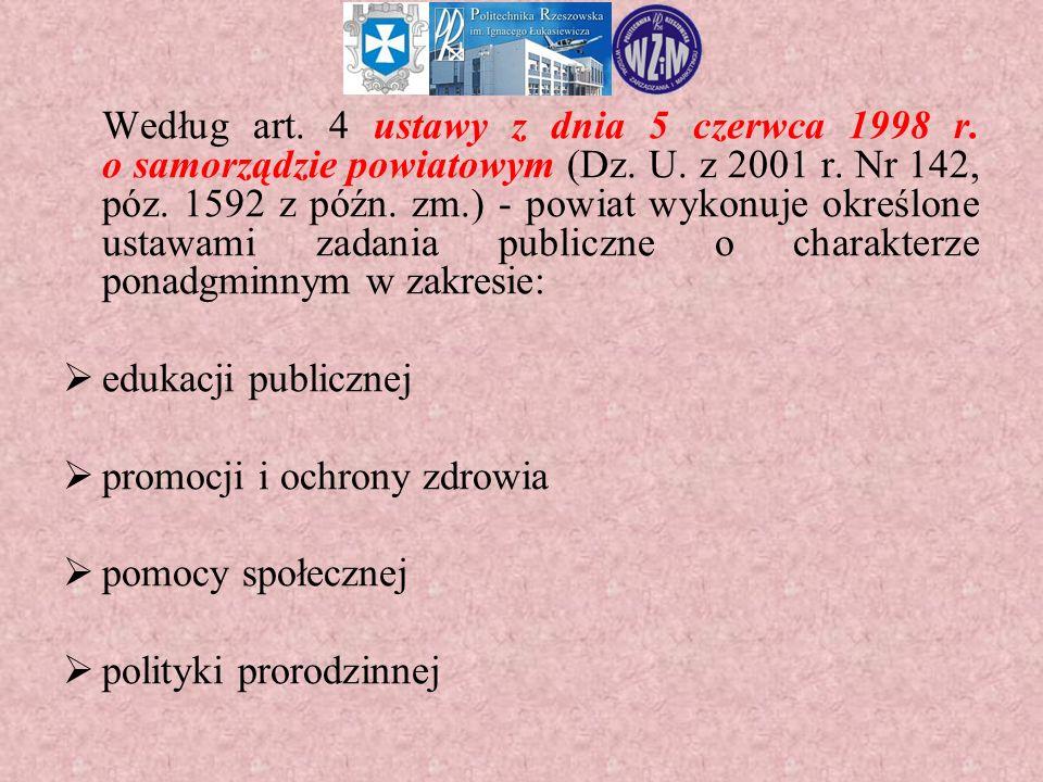 Według art. 4 ustawy z dnia 5 czerwca 1998 r. o samorządzie powiatowym (Dz. U. z 2001 r. Nr 142, póz. 1592 z późn. zm.) - powiat wykonuje określone us