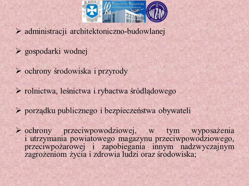  administracji architektoniczno-budowlanej  gospodarki wodnej  ochrony środowiska i przyrody  rolnictwa, leśnictwa i rybactwa śródlądowego  porzą