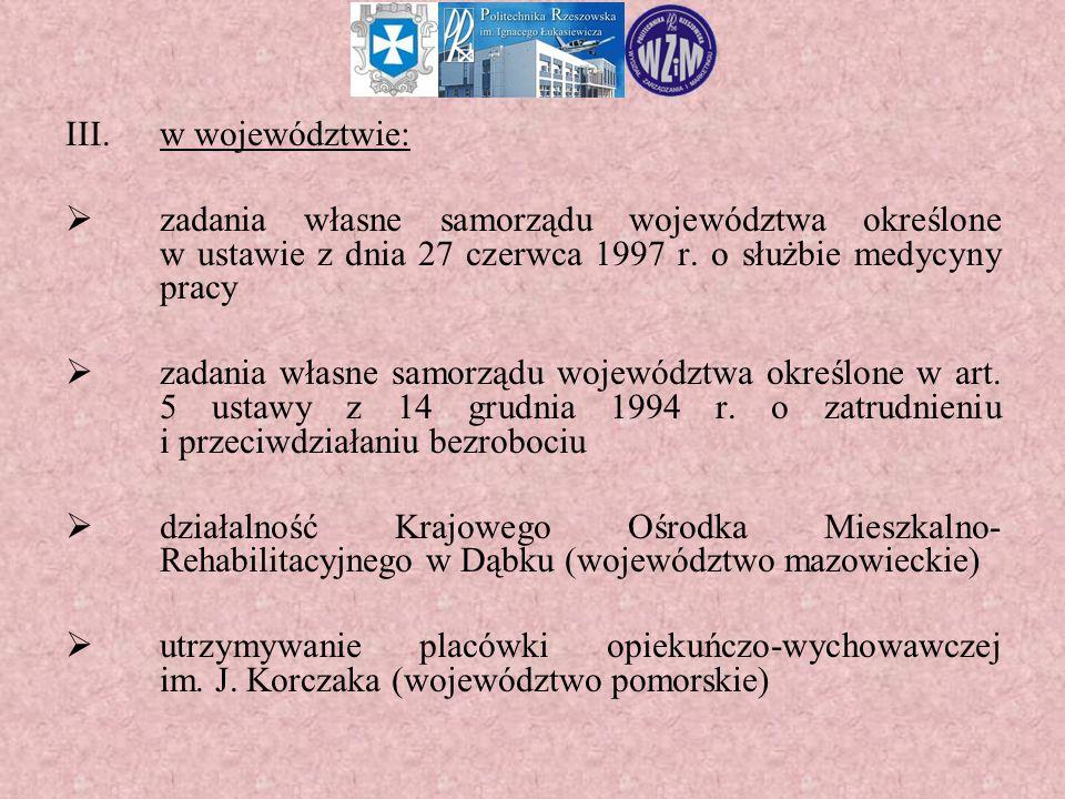 III.w województwie:  zadania własne samorządu województwa określone w ustawie z dnia 27 czerwca 1997 r. o służbie medycyny pracy  zadania własne sam