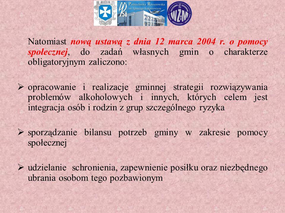 Natomiast nową ustawą z dnia 12 marca 2004 r. o pomocy społecznej, do zadań własnych gmin o charakterze obligatoryjnym zaliczono:  opracowanie i real