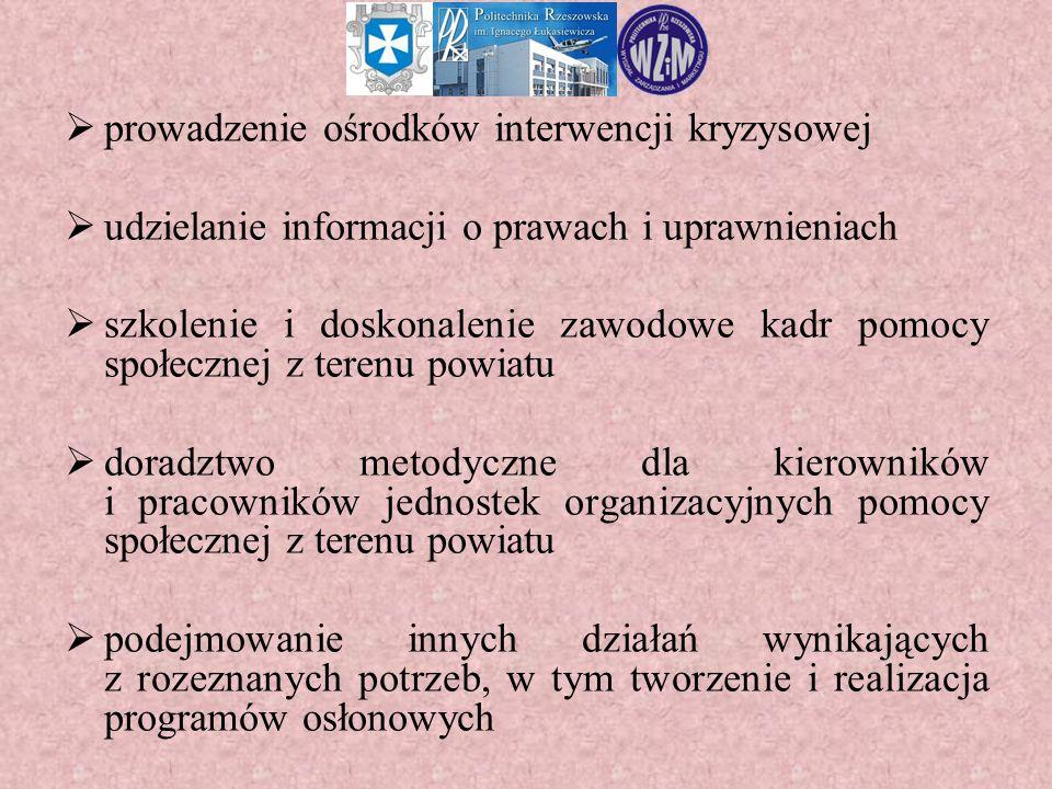  prowadzenie ośrodków interwencji kryzysowej  udzielanie informacji o prawach i uprawnieniach  szkolenie i doskonalenie zawodowe kadr pomocy społec
