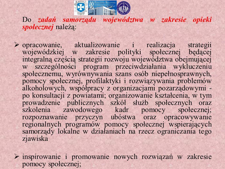 Do zadań samorządu województwa w zakresie opieki społecznej należą:  opracowanie, aktualizowanie i realizacja strategii wojewódzkiej w zakresie polit