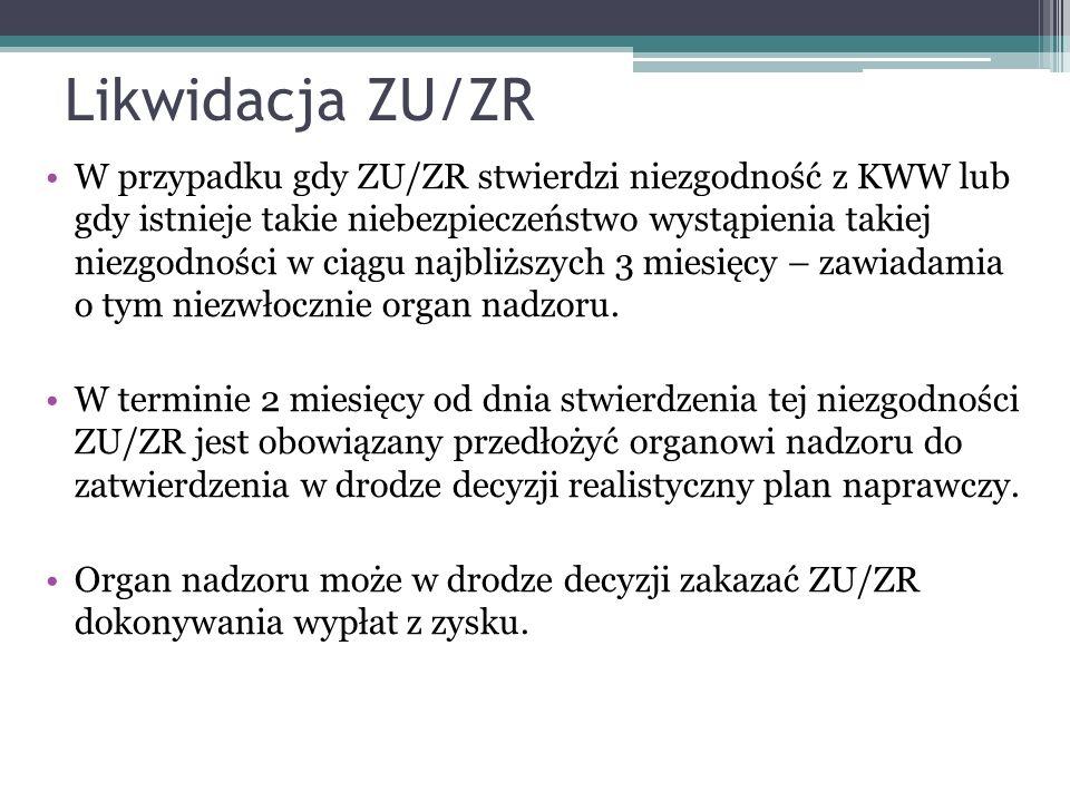 Likwidacja ZU/ZR W przypadku gdy ZU/ZR stwierdzi niezgodność z KWW lub gdy istnieje takie niebezpieczeństwo wystąpienia takiej niezgodności w ciągu najbliższych 3 miesięcy – zawiadamia o tym niezwłocznie organ nadzoru.