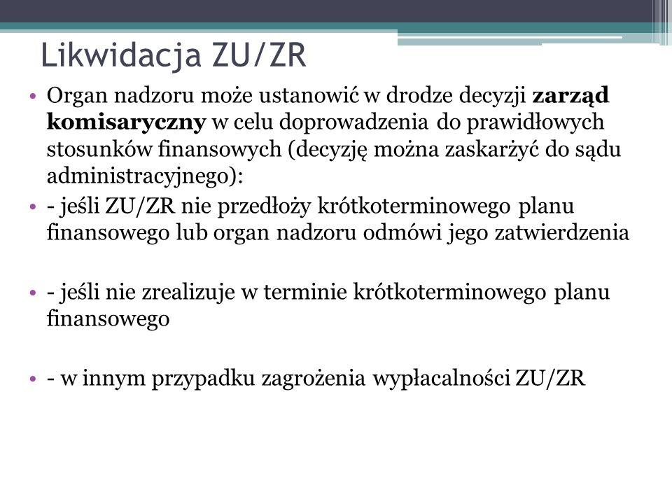 Likwidacja ZU/ZR Organ nadzoru może ustanowić w drodze decyzji zarząd komisaryczny w celu doprowadzenia do prawidłowych stosunków finansowych (decyzję