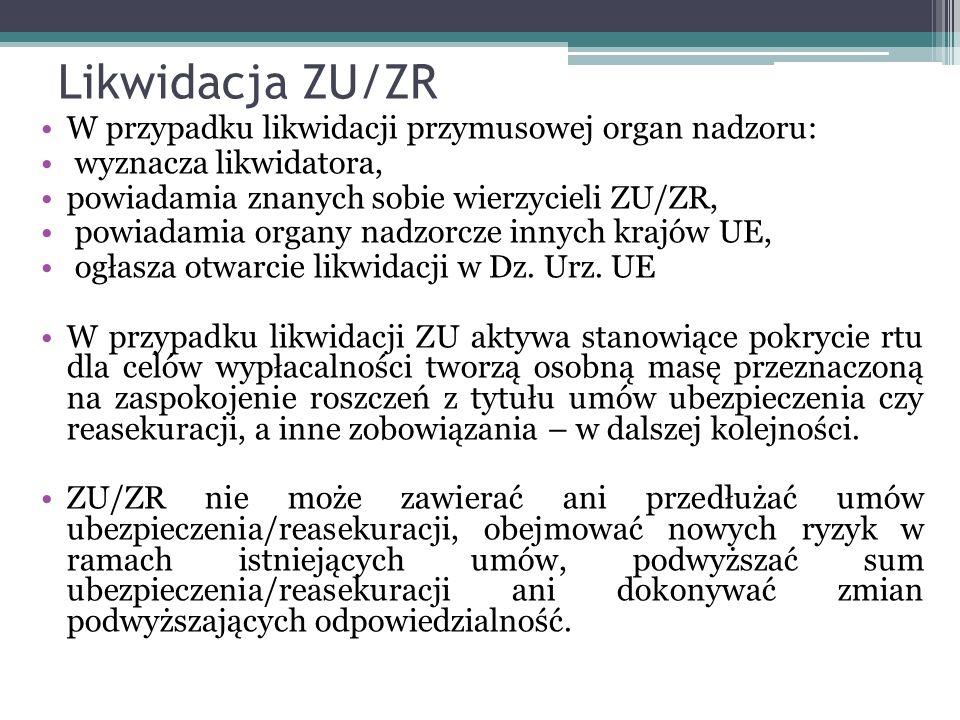 Likwidacja ZU/ZR W przypadku likwidacji przymusowej organ nadzoru: wyznacza likwidatora, powiadamia znanych sobie wierzycieli ZU/ZR, powiadamia organy nadzorcze innych krajów UE, ogłasza otwarcie likwidacji w Dz.