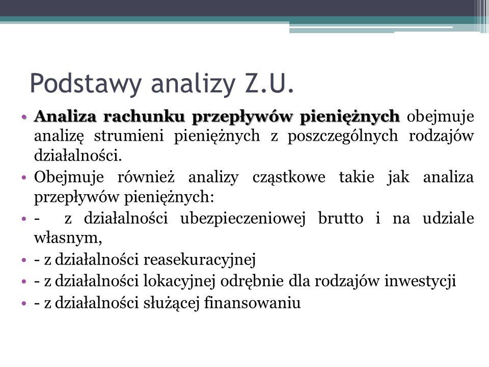 Podstawy analizy Z.U. Analiza rachunku przepływów pieniężnychAnaliza rachunku przepływów pieniężnych obejmuje analizę strumieni pieniężnych z poszczeg