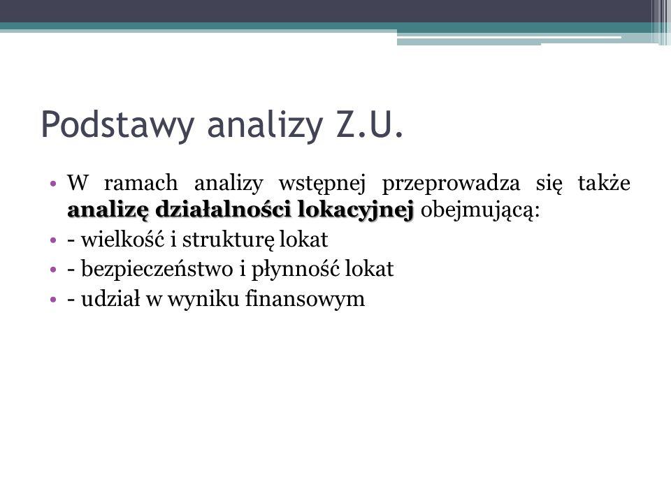 Podstawy analizy Z.U. analizę działalności lokacyjnejW ramach analizy wstępnej przeprowadza się także analizę działalności lokacyjnej obejmującą: - wi
