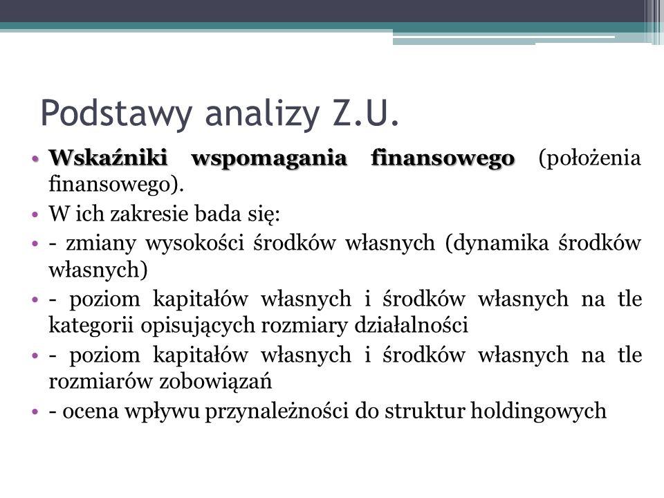 Podstawy analizy Z.U. Wskaźniki wspomagania finansowegoWskaźniki wspomagania finansowego (położenia finansowego). W ich zakresie bada się: - zmiany wy