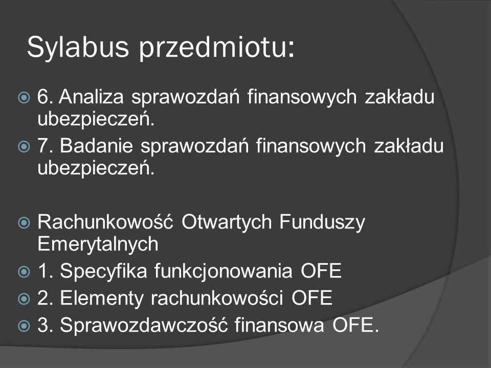 Sylabus przedmiotu:  6. Analiza sprawozdań finansowych zakładu ubezpieczeń.