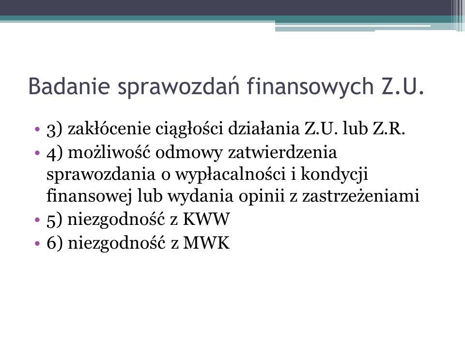 Badanie sprawozdań finansowych Z.U. 3) zakłócenie ciągłości działania Z.U.