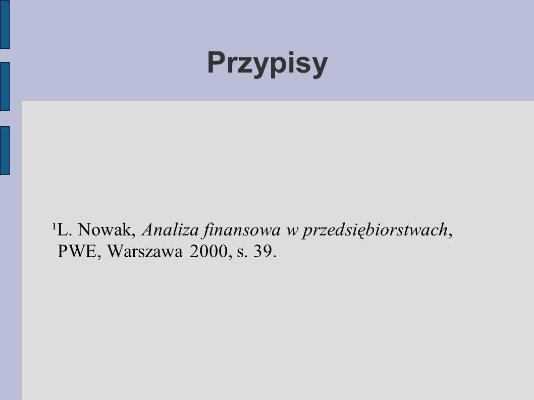 ¹L. Nowak, Analiza finansowa w przedsiębiorstwach, PWE, Warszawa 2000, s. 39. Przypisy