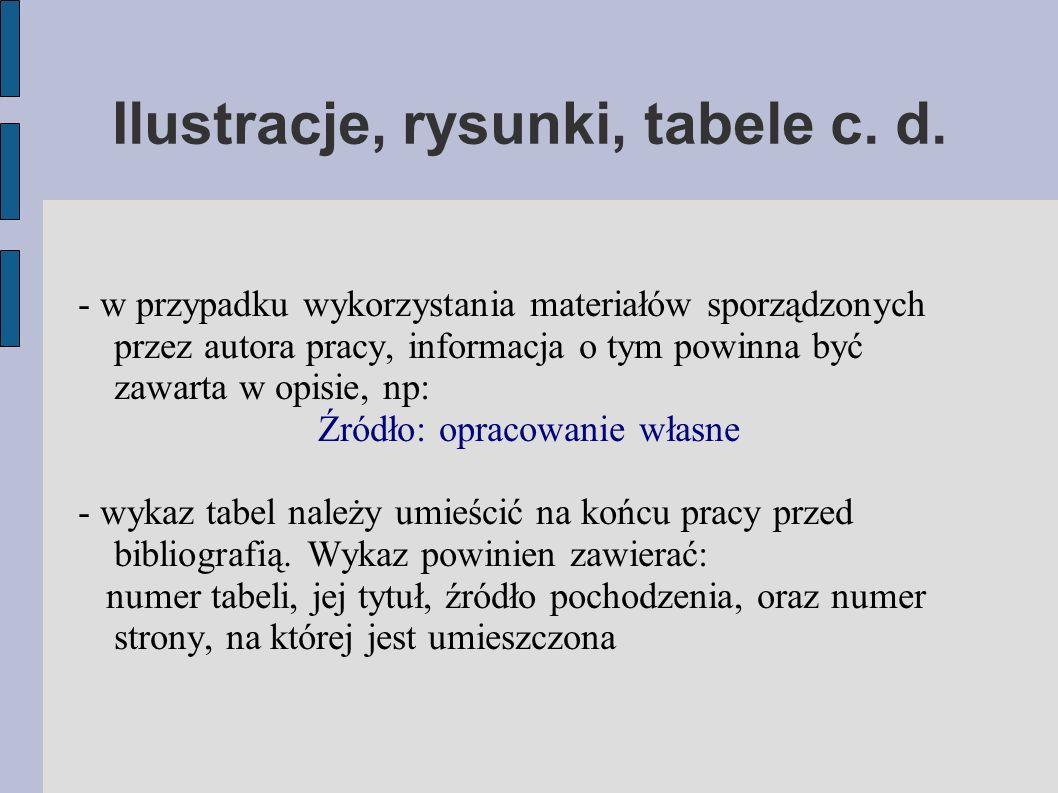 Ilustracje, rysunki, tabele c. d.
