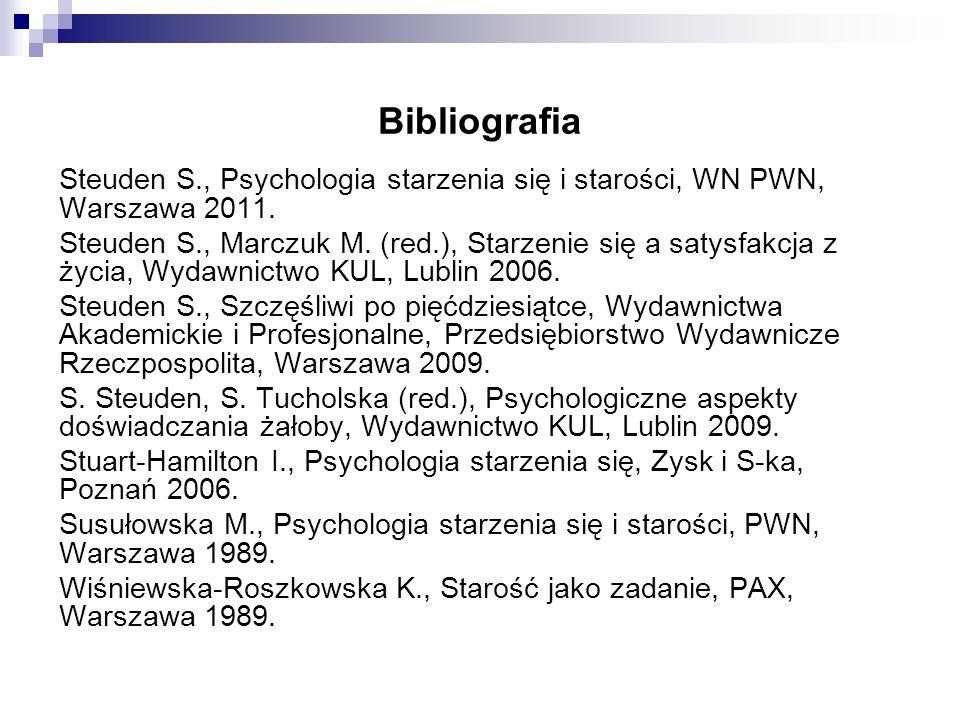 Bibliografia Steuden S., Psychologia starzenia się i starości, WN PWN, Warszawa 2011. Steuden S., Marczuk M. (red.), Starzenie się a satysfakcja z życ