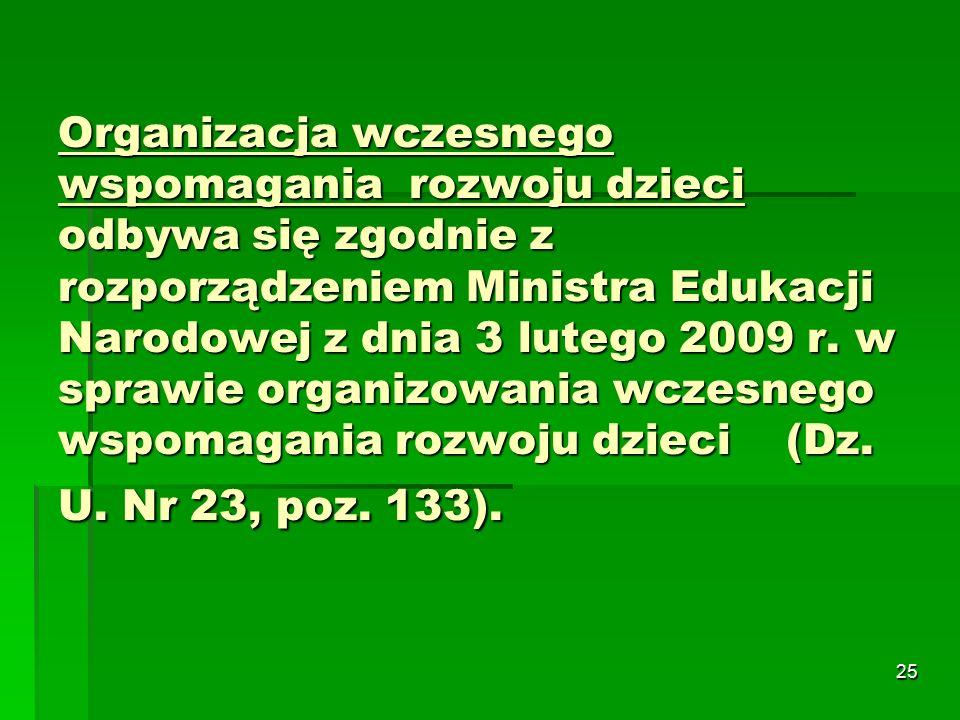25 Organizacja wczesnego wspomagania rozwoju dzieci odbywa się zgodnie z rozporządzeniem Ministra Edukacji Narodowej z dnia 3 lutego 2009 r.