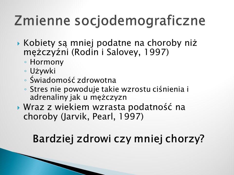  Kobiety są mniej podatne na choroby niż mężczyźni (Rodin i Salovey, 1997) ◦ Hormony ◦ Używki ◦ Świadomość zdrowotna ◦ Stres nie powoduje takie wzros