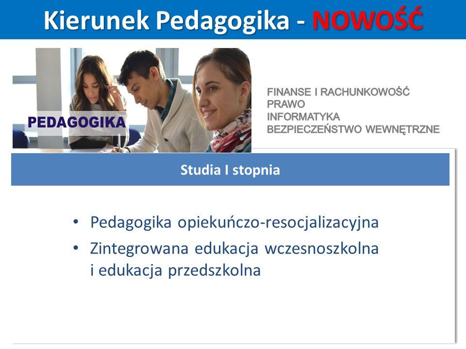 Kierunek Pedagogika - NOWOŚĆ Studia I stopnia Pedagogika opiekuńczo-resocjalizacyjna Zintegrowana edukacja wczesnoszkolna i edukacja przedszkolna