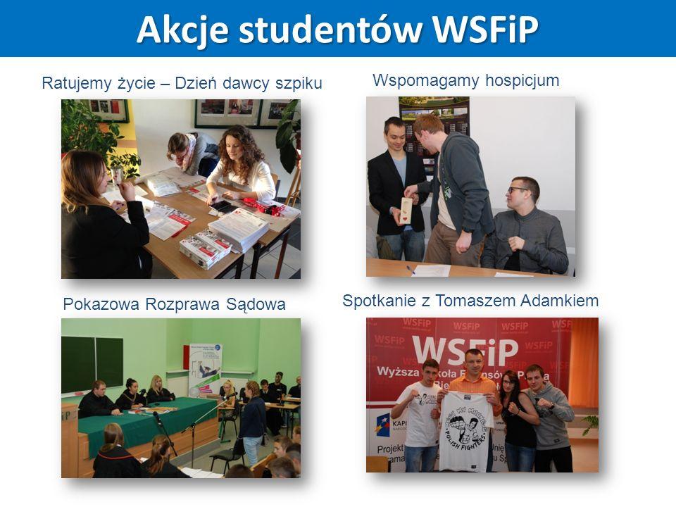 Akcje studentów WSFiP Ratujemy życie – Dzień dawcy szpiku Wspomagamy hospicjum Pokazowa Rozprawa Sądowa Spotkanie z Tomaszem Adamkiem