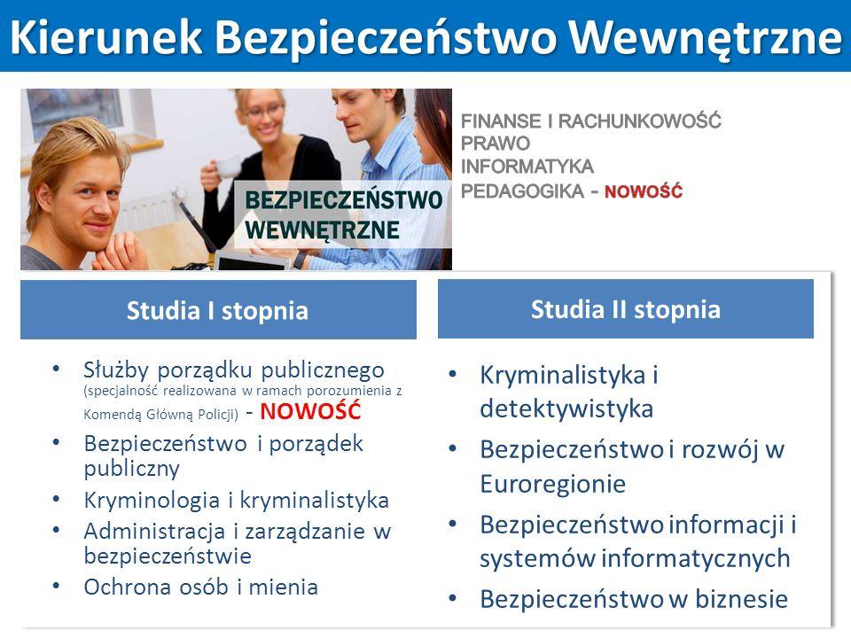 Kierunek Bezpieczeństwo Wewnętrzne Studia I stopnia Służby porządku publicznego (specjalność realizowana w ramach porozumienia z Komendą Główną Policji) - NOWOŚĆ Bezpieczeństwo i porządek publiczny Kryminologia i kryminalistyka Administracja i zarządzanie w bezpieczeństwie Ochrona osób i mienia Studia II stopnia Kryminalistyka i detektywistyka Bezpieczeństwo i rozwój w Euroregionie Bezpieczeństwo informacji i systemów informatycznych Bezpieczeństwo w biznesie