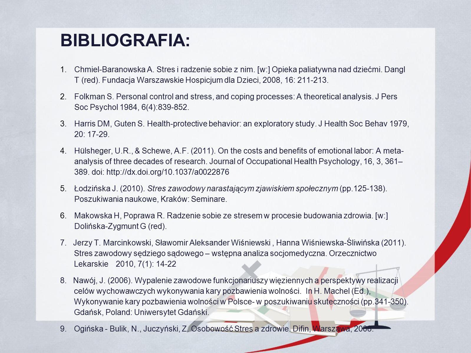 BIBLIOGRAFIA: 1. Chmiel-Baranowska A. Stres i radzenie sobie z nim.