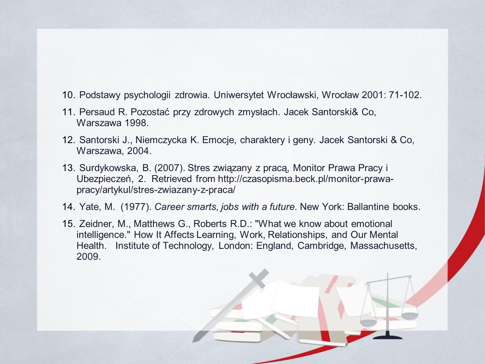 10. Podstawy psychologii zdrowia. Uniwersytet Wrocławski, Wrocław 2001: 71-102.