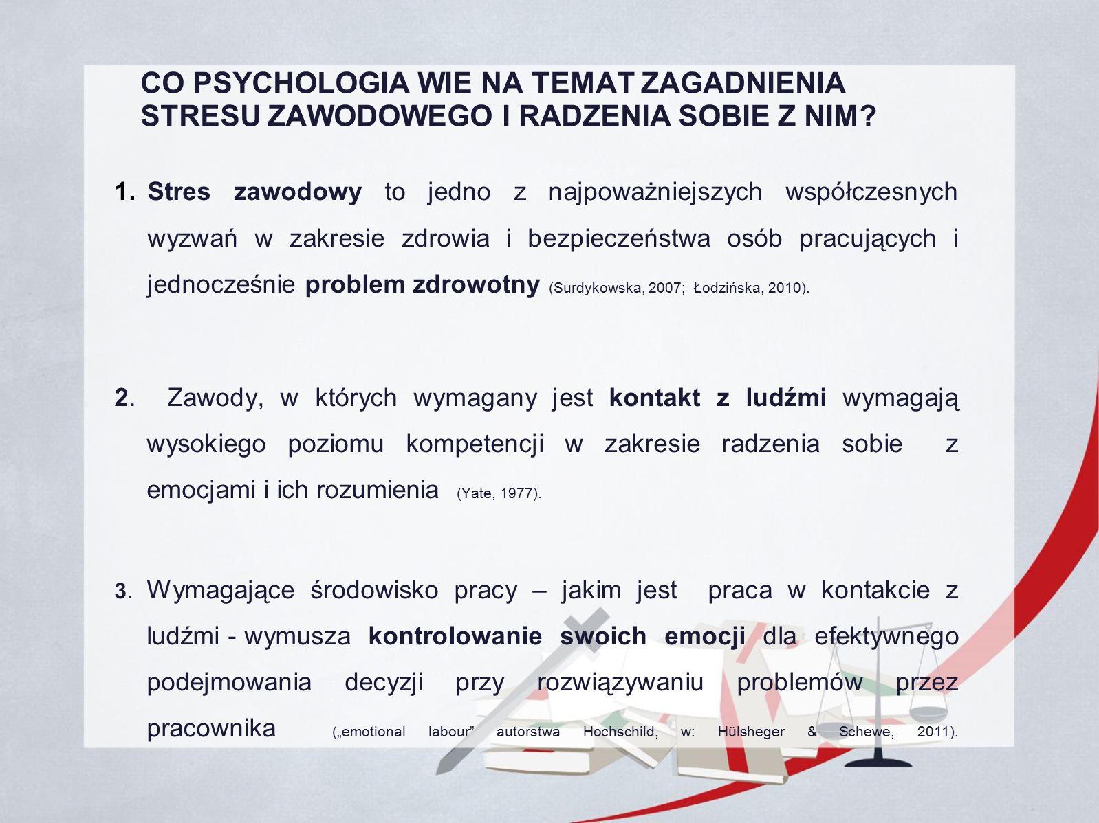 CO PSYCHOLOGIA WIE NA TEMAT ZAGADNIENIA STRESU ZAWODOWEGO I RADZENIA SOBIE Z NIM.