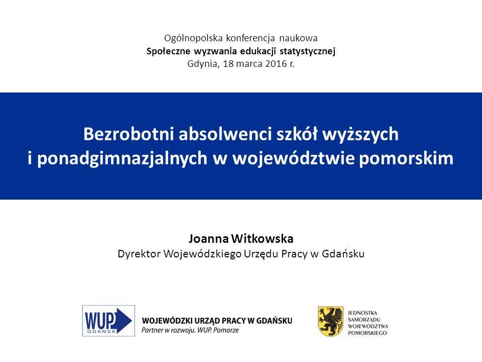Bezrobotni absolwenci szkół wyższych i ponadgimnazjalnych w województwie pomorskim Joanna Witkowska Dyrektor Wojewódzkiego Urzędu Pracy w Gdańsku Ogól