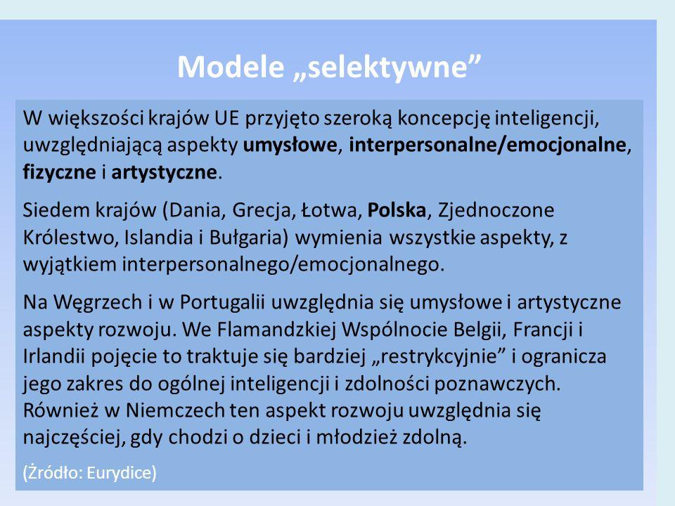 """Modele """"selektywne W większości krajów UE przyjęto szeroką koncepcję inteligencji, uwzględniającą aspekty umysłowe, interpersonalne/emocjonalne, fizyczne i artystyczne."""