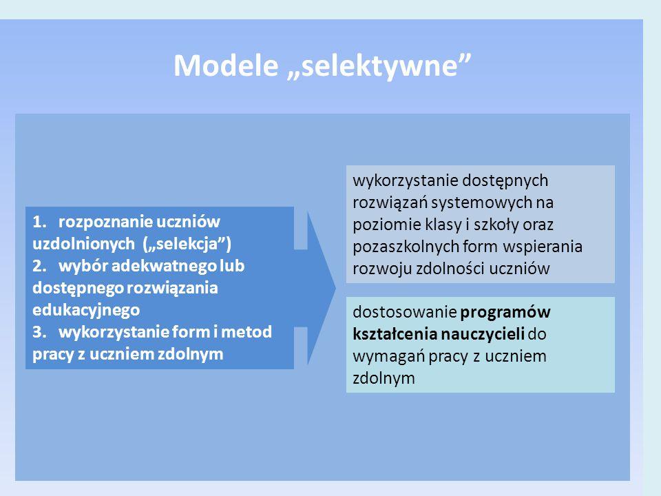 """wykorzystanie dostępnych rozwiązań systemowych na poziomie klasy i szkoły oraz pozaszkolnych form wspierania rozwoju zdolności uczniów dostosowanie programów kształcenia nauczycieli do wymagań pracy z uczniem zdolnym 1.rozpoznanie uczniów uzdolnionych (""""selekcja ) 2.wybór adekwatnego lub dostępnego rozwiązania edukacyjnego 3.wykorzystanie form i metod pracy z uczniem zdolnym Modele """"selektywne"""